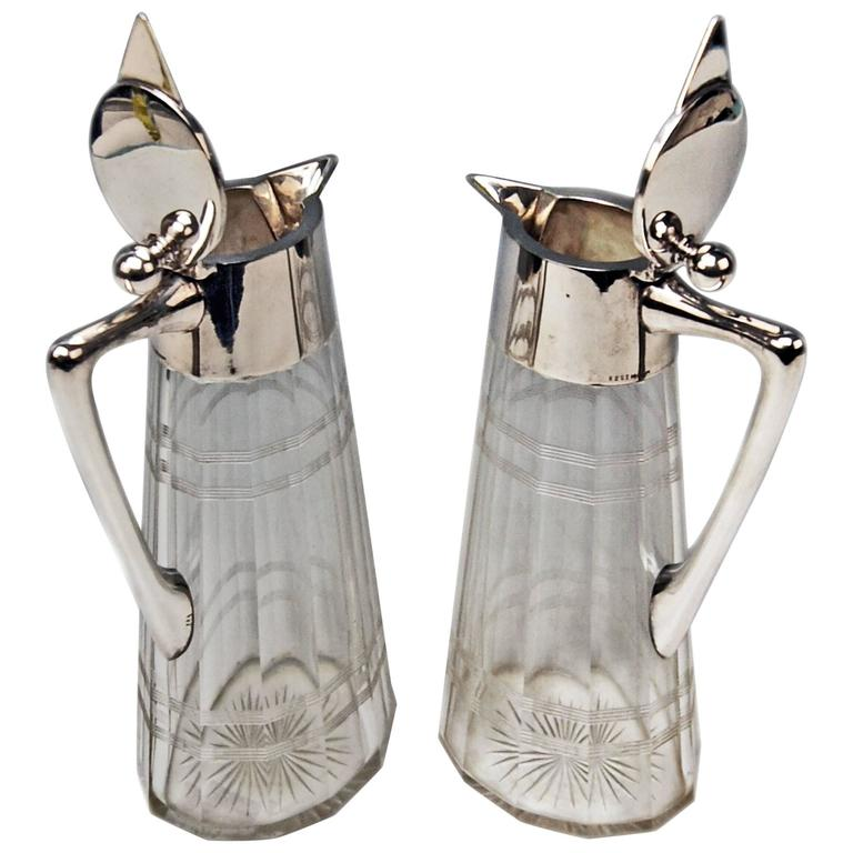 Silver Pair of Glass Decanters Wilhelm Binder Art Nouveau Germany circa 1900