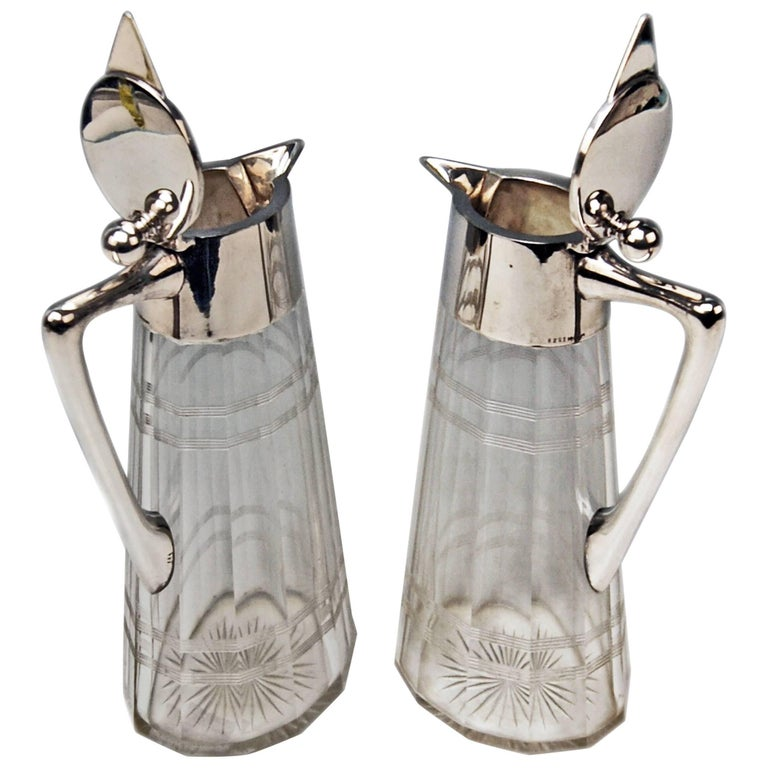 Silver Pair of Glass Decanters Wilhelm Binder Art Nouveau Germany circa 1900 For Sale
