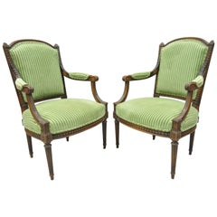 Pair of French Louix XVI Directoire Carved Walnut Green Fauteuil Arm Chairs