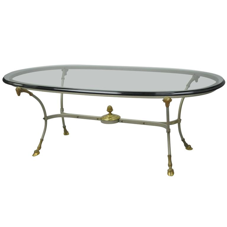 Vintage Italian Brass And Steel Regency Style Ram U0026 Hoof Foot Oval Coffee  Table For Sale