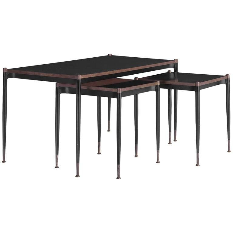 Set of steel and bronze nesting tables circa at stdibs