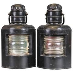 Pair of Port and Starboard Lanterns, Painted Black Finish