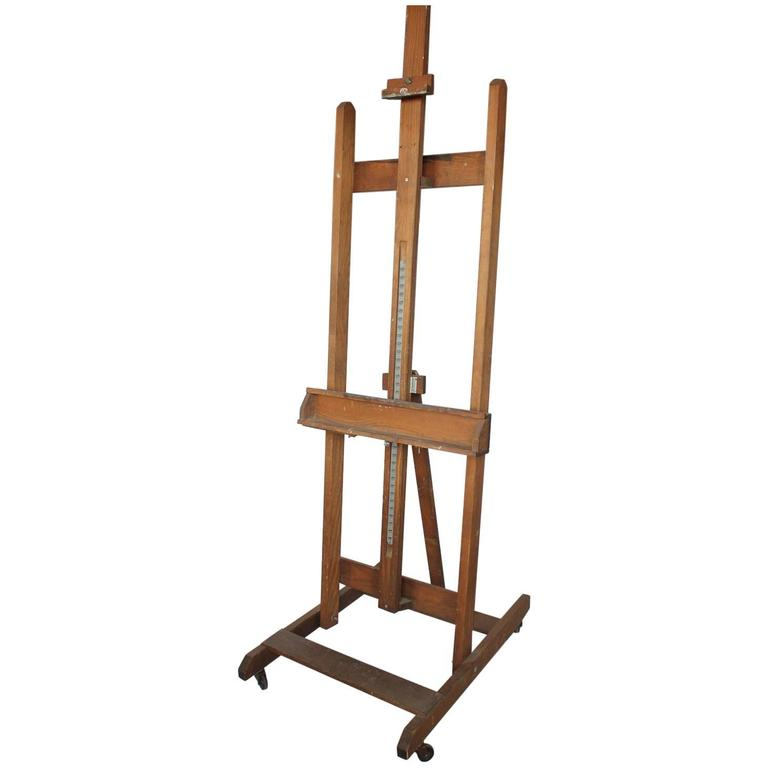 Large Mid Century Art School Wood Easel
