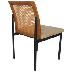 milo baughman style mid century suede and cane desk or side chair art deco desk chair office side armchair