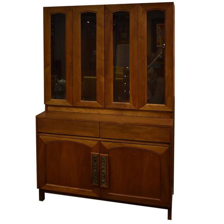 Wonderful Two Piece Teak China Cabinet Designed By John Keal For Brown Saltman 1