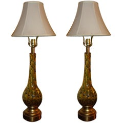 Pair of Multicolored Murano Glass Table Lamps Hollywood Regency Style
