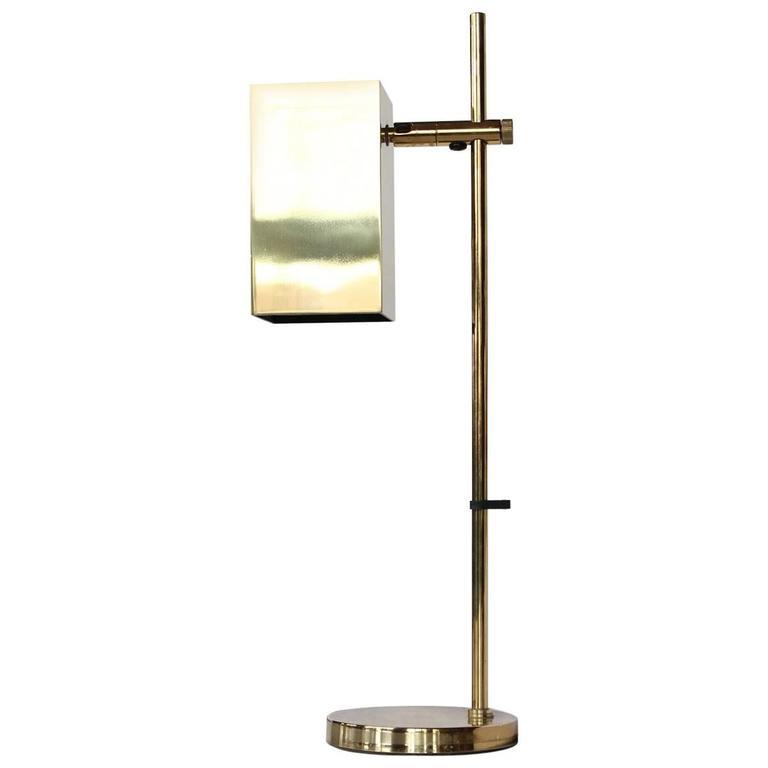 Mid-Century Cube Brass Desk or Table Lamp by Koch & Lowy