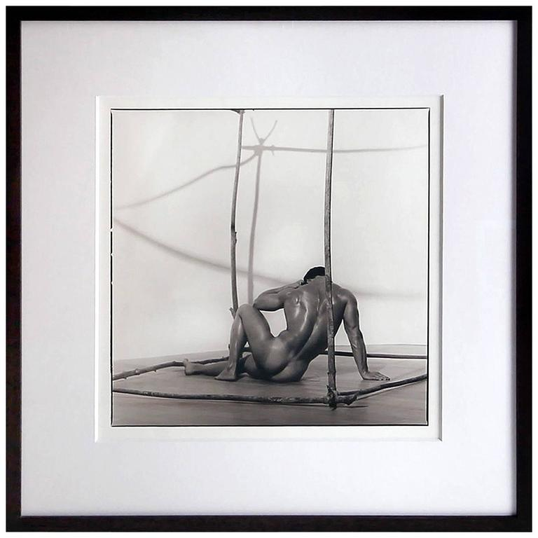 Early Silver Gelatin Print by Photog Blake Little 'Untitled 'Man in Cube', 1990