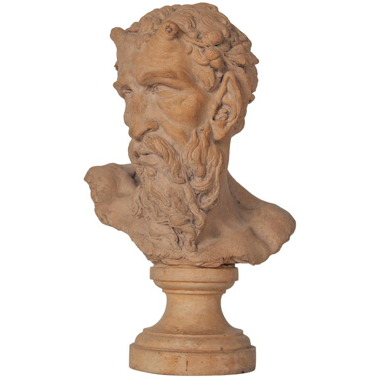 French Terracotta Bust of a Satyr For Sale