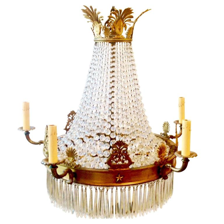 1920s French Empire Crystal Chandelier At 1stdibs