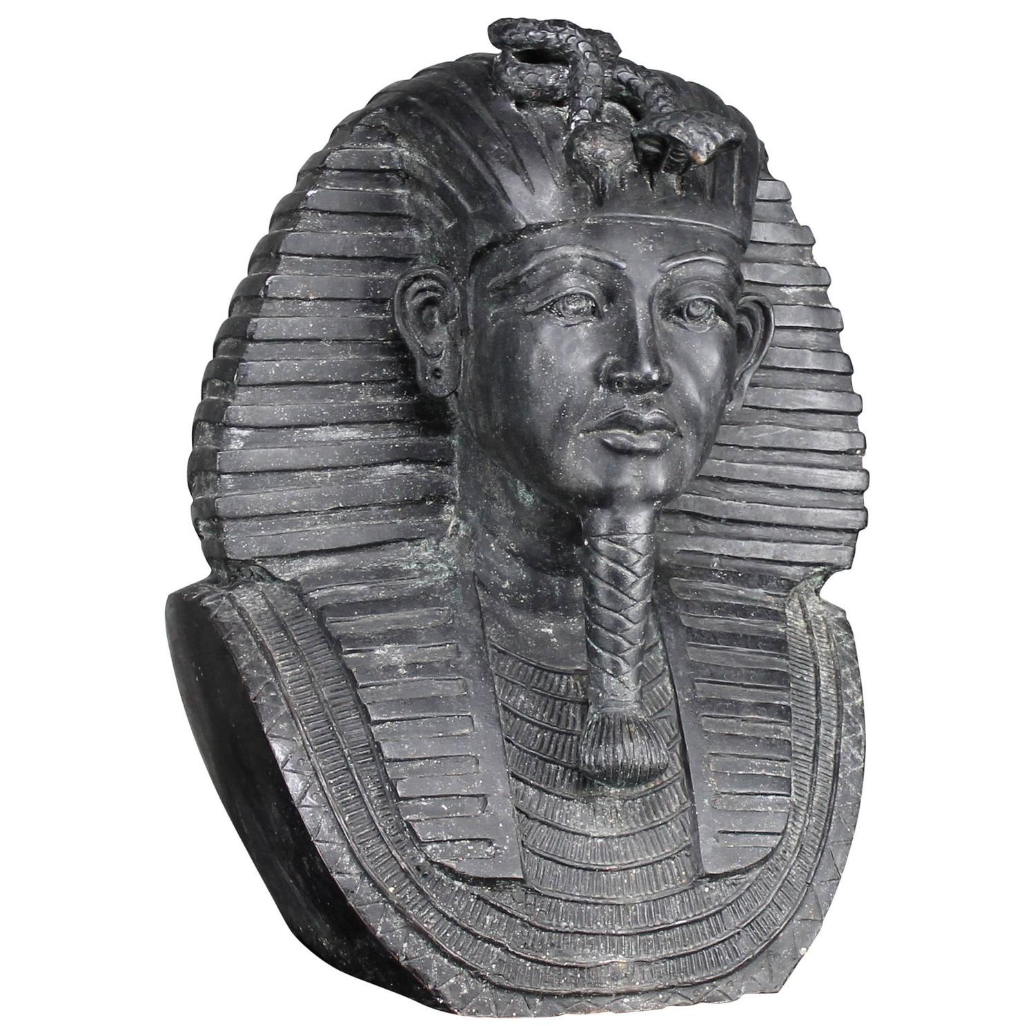 Monumental Bronze Egyptian Sphinx Pharaoh Head Garden Statue For Sale At  1stdibs
