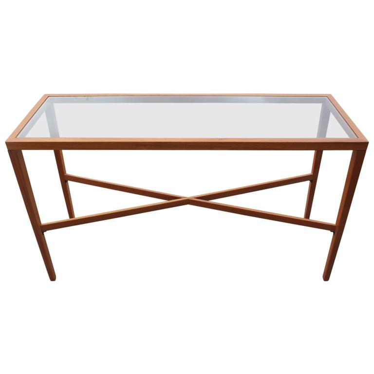 Modern Teak Danish Console Or Entry Table With X Stretcher And Glass