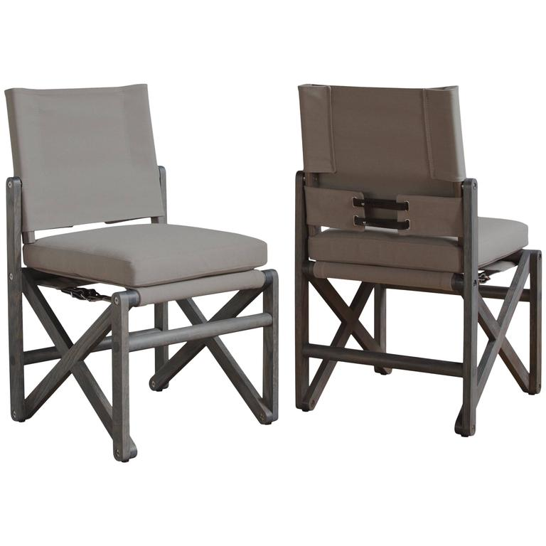 Maclaren Armless Dining Chair in Ash Grey White Oak and Outdoor Fabric