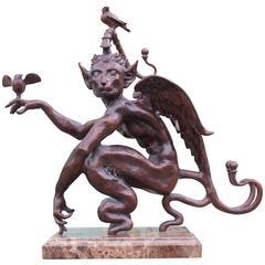 Modern Daniel Merriam Little Bastadius Bronze Table Top Figure / Statue