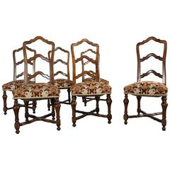 Set of Six French Louis XIV Style Walnut Ladderback Dining Chairs