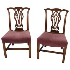 Fine Pair of Chippendale Mahogany Side Chairs with Saddle Seats