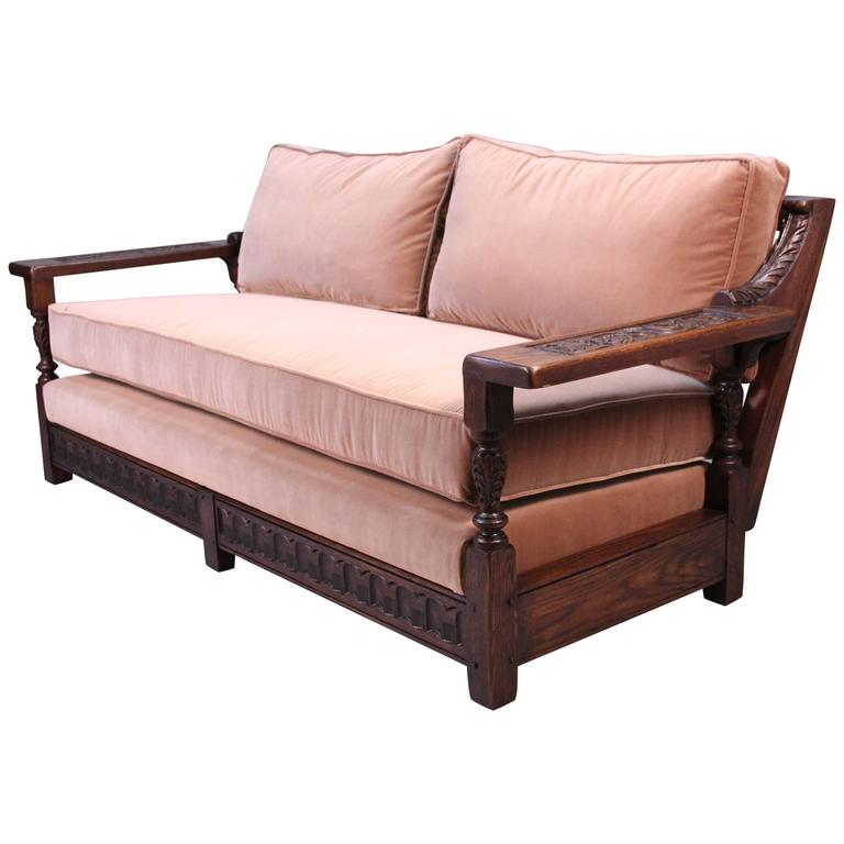 Spanish Revival Carved Wood 1920s Sofa at 1stdibs