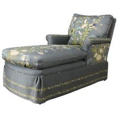 Vintage 1940s Double Armed Chaise Longue, Newly Upholstered