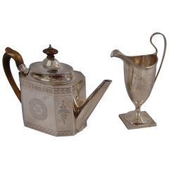 Georgian Sterling Silver Teapot and Associated Sterling Silver Creamer
