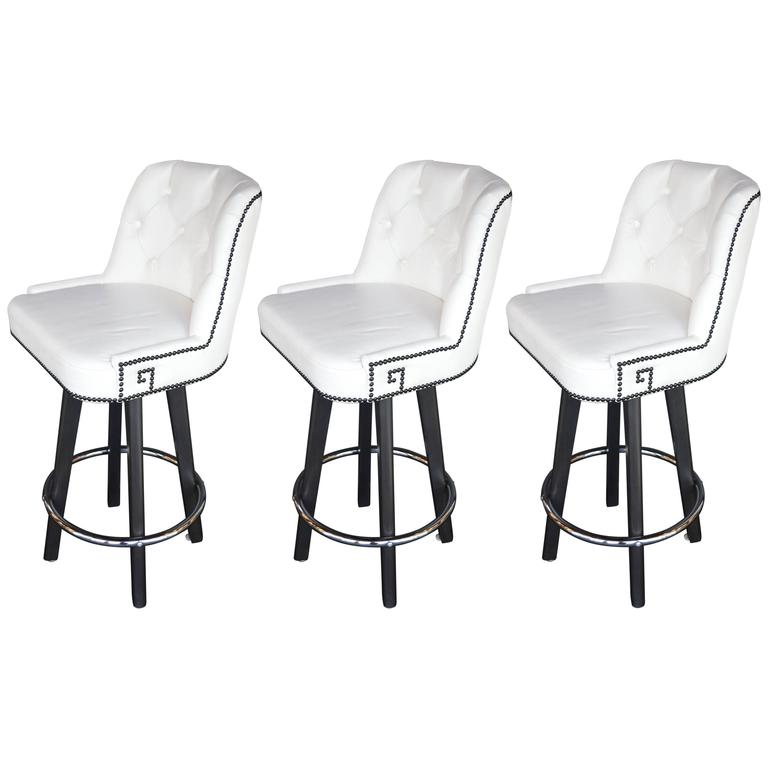 set of three white leather bar stools at 1stdibs. Black Bedroom Furniture Sets. Home Design Ideas