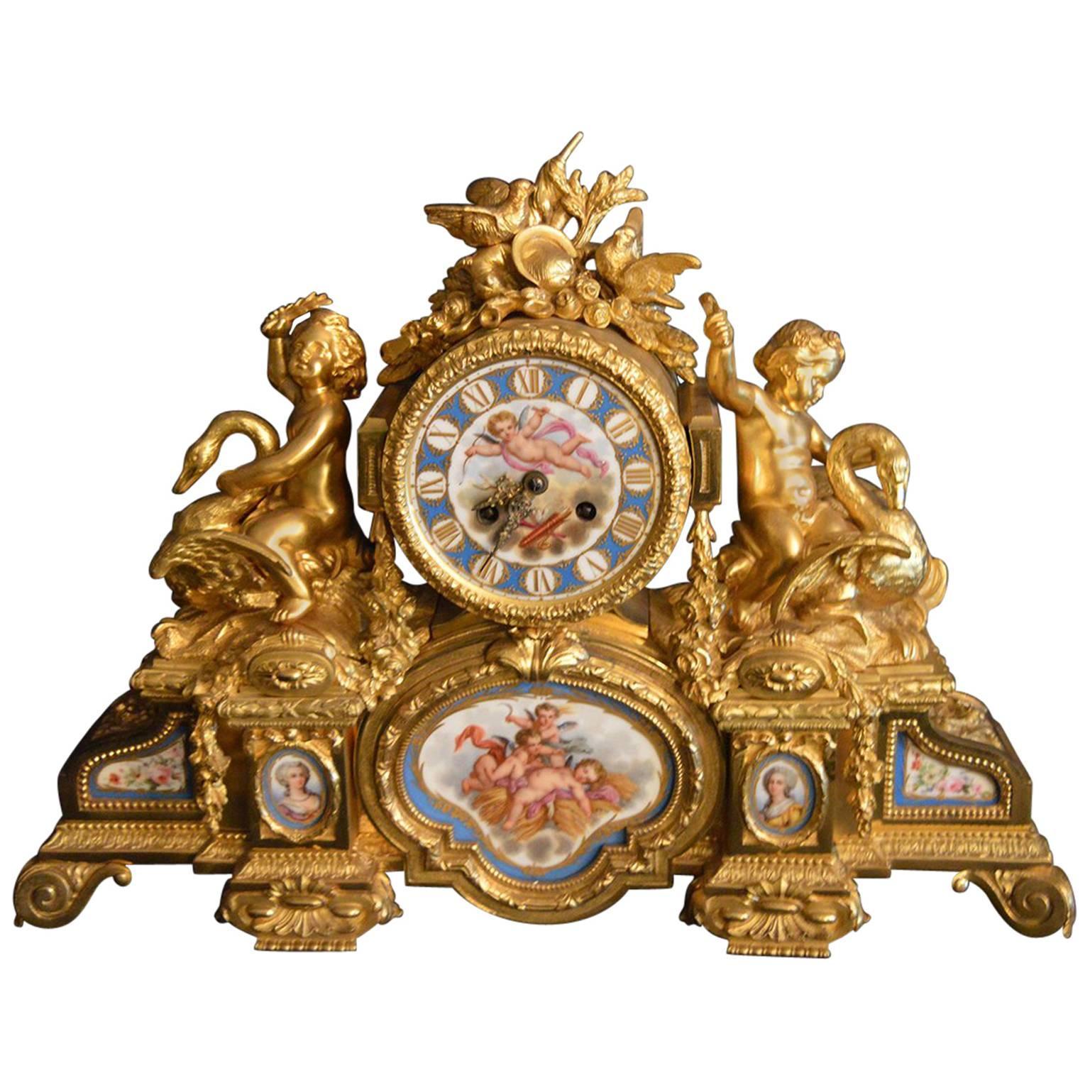Sèvres Porcelain with Doré Bronze Clock