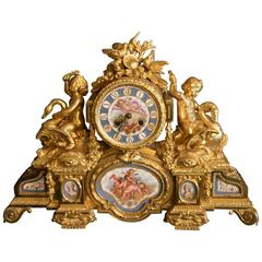 Sèvres Porcelain with Doré Bronze Clock