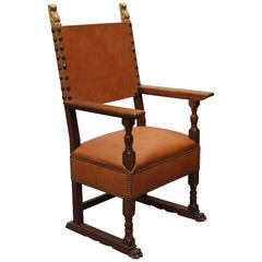 1920s Spanish Revival Armchair with Leather Upholstery