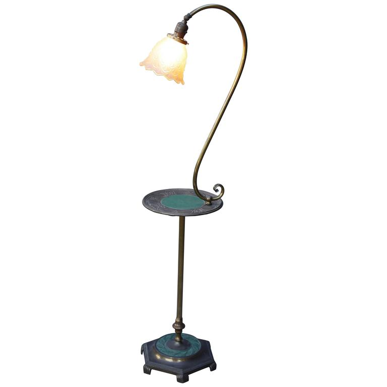 1920s floor lamp with table tray at 1stdibs