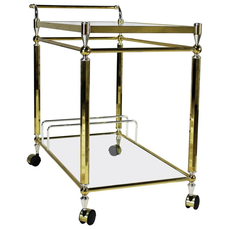 Vine Br Chrome And Gl Double Tier Serving Tea Or Bar Cart
