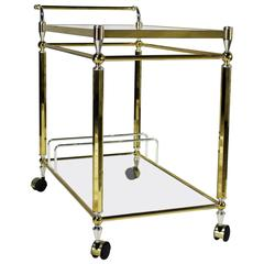 Vintage Brass, Chrome and Glass Double-Tier Serving Tea or Bar Cart
