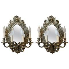 Traditional Pair of Mirrored Sconces Depicting Faces