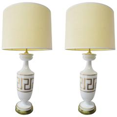 Pair of White Opaline and Glass and Brass Lamps with Gold Greek Meander