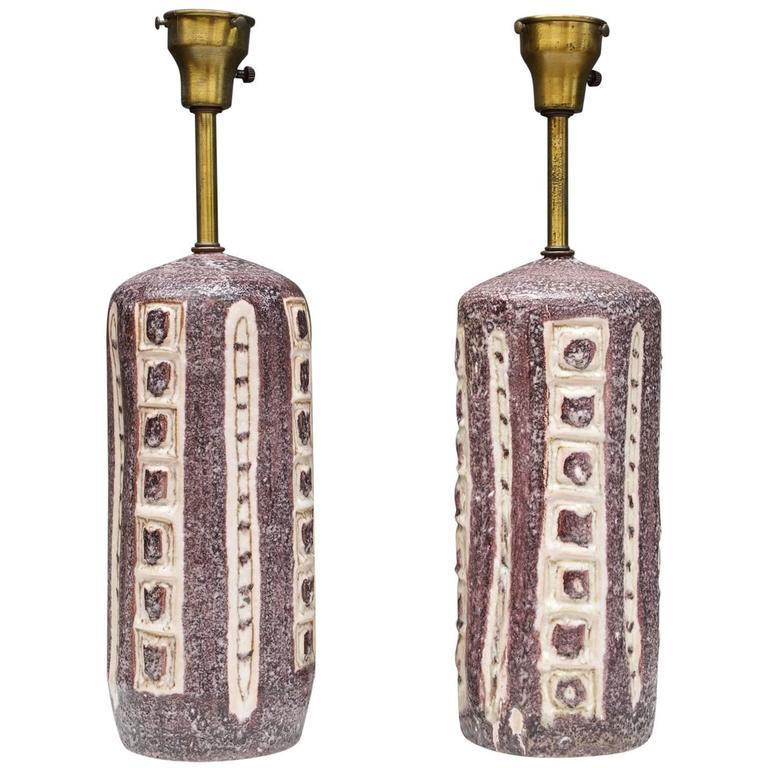 Pair of Stunning Italian Dark Plum Ceramic Table Lamps by Guido Gambone