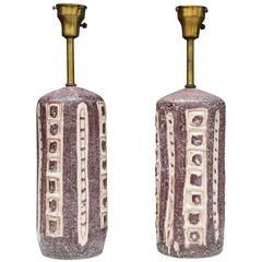 Pair of Stunning Italian Dark Plum Ceramic Table Lamps by Guido Gambone