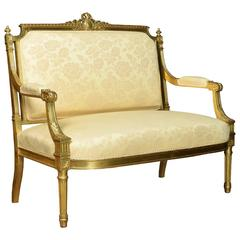 French Louis XVI Style Giltwood Two-Seat Settee