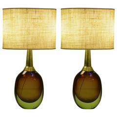 """Pair of  Beautiful Seguso """"Sommerso"""" Murano Glass Signed Table Lamps, 1950s"""