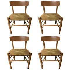 """Four Børge Mogensen J39 Oak and Cord Dining Side Chairs Called """"Peoples Chair"""""""