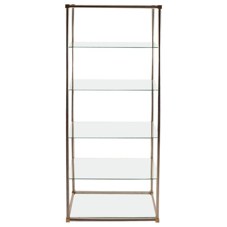 Aluminum brass and glass etagere vitrine by vesey for - Etagere vitrine ...