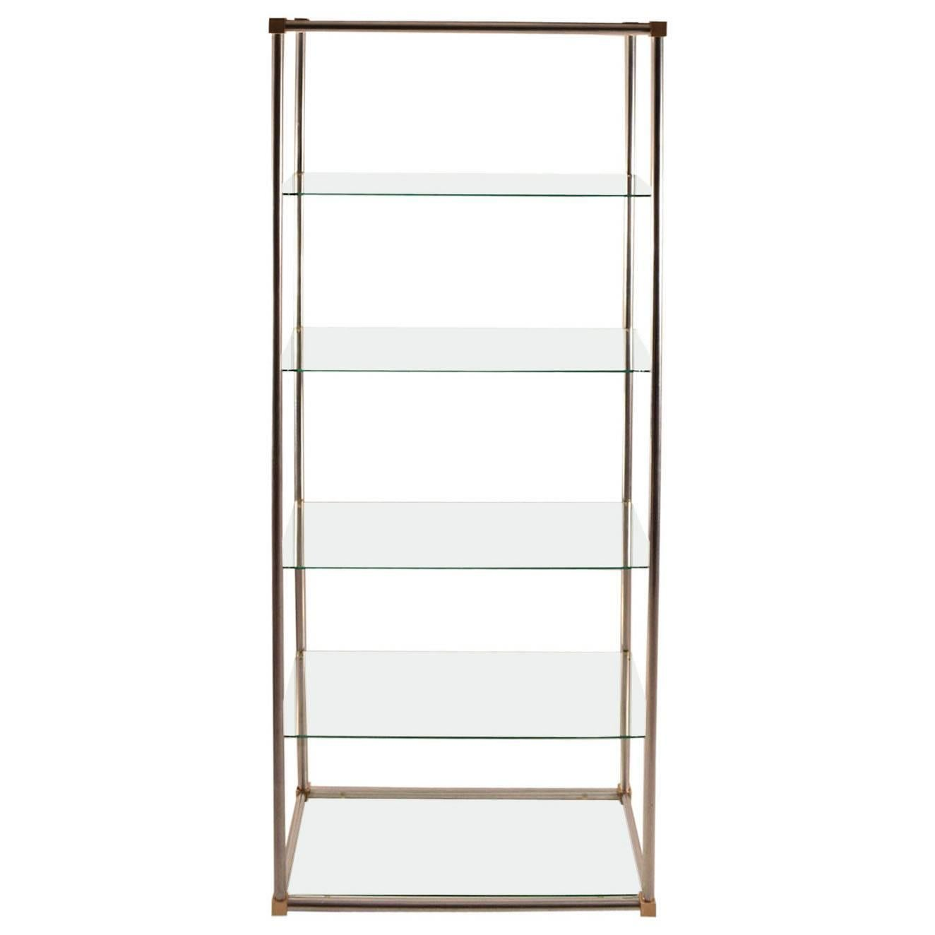 Aluminum / Brass and Glass Etagere, Vitrine by Vesey