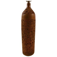 Bottle Form Cork and Wood Table Lamp