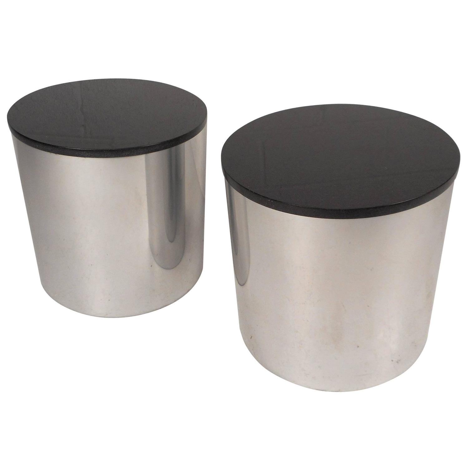 Contemporary Modern Round Granite Top End Tables For Sale at 1stdibs