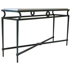 Chic Hammered Iron Art Deco Style Console, France, circa 1950s