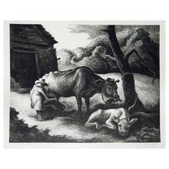 "Regionalist Thomas Hart Benton Pencil Signed AAA Lithograph, 1945, ""White Calf"""