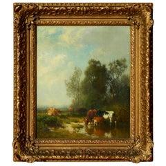 William Hart Oil on Board, A Fine 19th Century American Pastoral