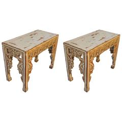Pair of Early 20th Century Chinese Altar Console Tables with Distressed Paint