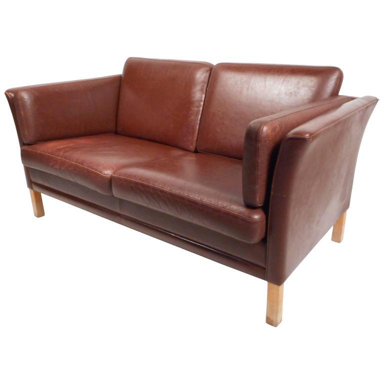 Mid Century Modern Danish Leather Loveseat For Sale At 1stdibs