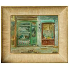 Chicago/Wisconsin Artist Aaron Bohrod Oil Painting, circa 1940s, Shop Windows