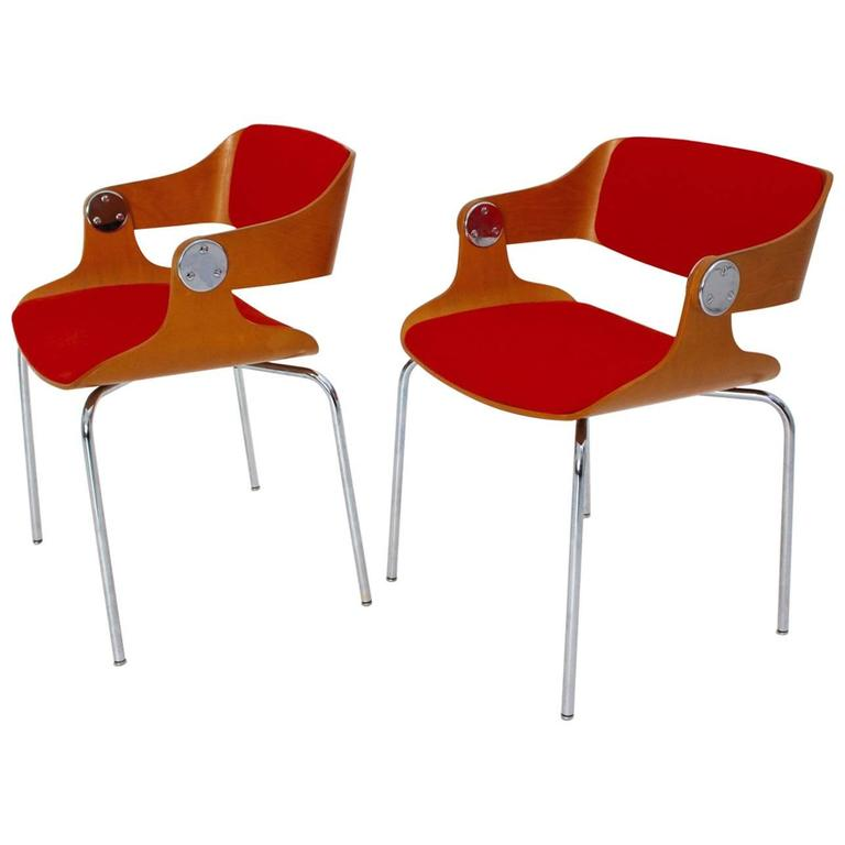 Mid Century Modern Pair Of Orange Armchairs By Eugen Schmidt, 1965, Germany  For