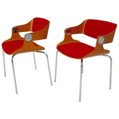 Mid-Century Modern Pair of Orange Armchairs by Eugen Schmidt, 1965, Germany