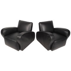 Pair of Contemporary Modern Vinyl Lounge Chairs